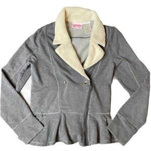 Girls sketchers jacket size large gray and cream